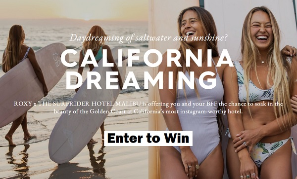 Roxy Win a Free Trip Sweepstakes