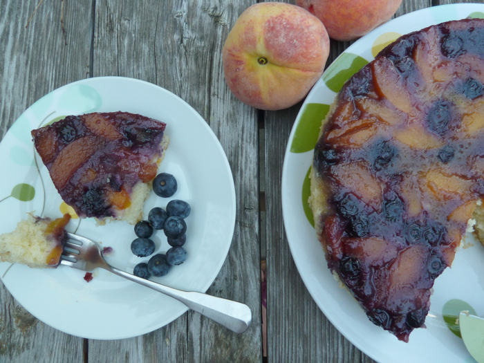 Blueberry Peach Upside Down Cake 6
