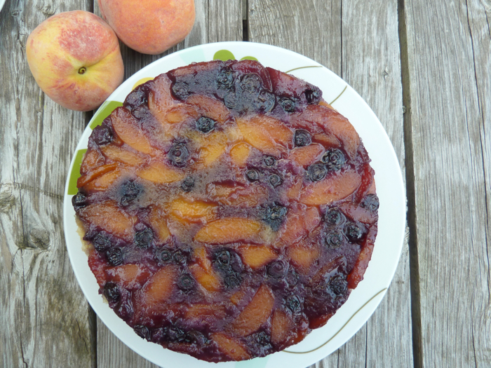 Blueberry Peach Upside Down Cake 9