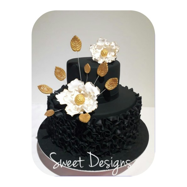 Black, White and Gold Birthday Cake