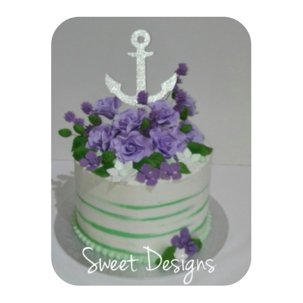 Buttercream Birthday Cake with Anchor Topper and Gumpaste Roses