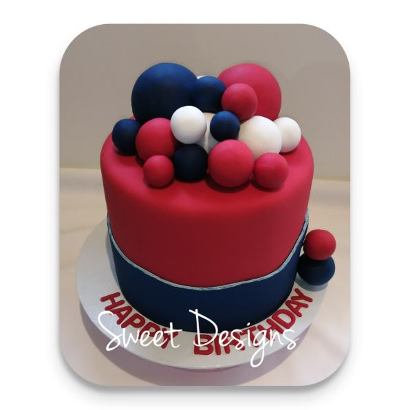 Birthday Cake with red, blue and White balls