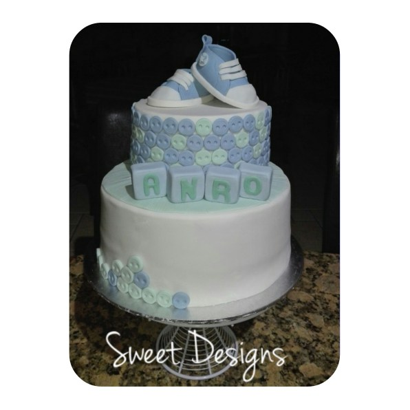 2Tier Baby Cake with little baby Shoes