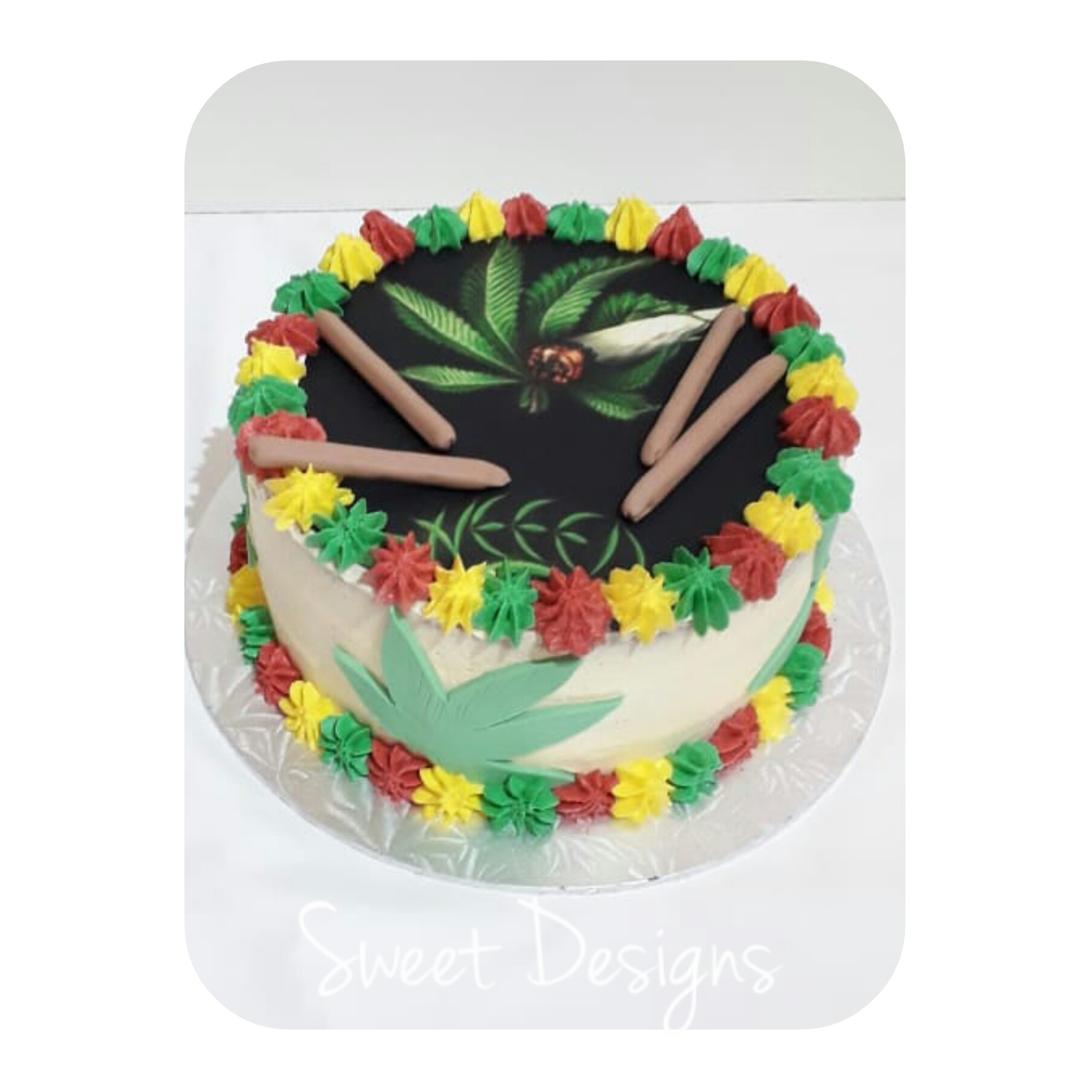 Funny Buttercream weed image Cake