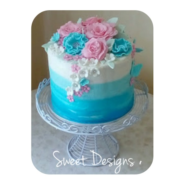 Ombre Wedding Cake with fondant flowers