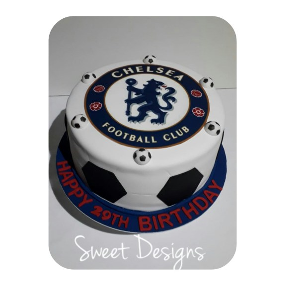 Soccer Cake with Caramel and fudge filling