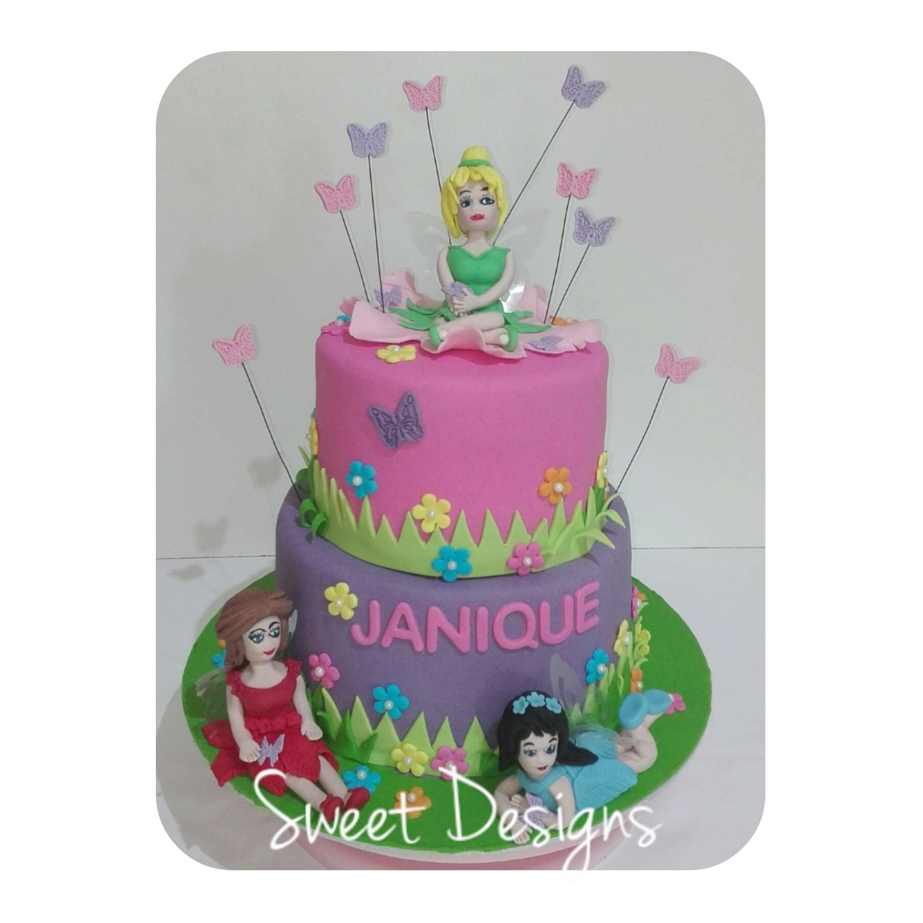 Fairy Cake with butterflies, flowers and fairy cake toppers