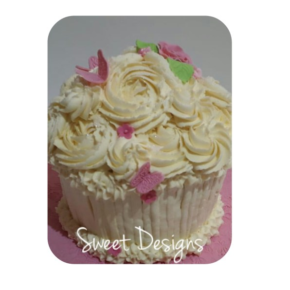 Gaint Cupcake with Roses and Butterflies