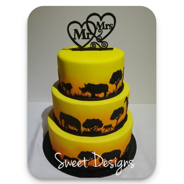 African Sunset Wedding Cake