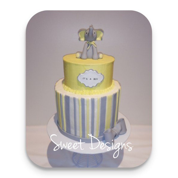 Baby Shower Cake with gumpaste Elephant
