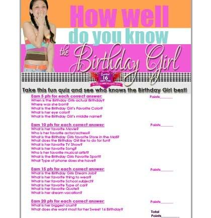 Free Sweet 16 Birthday Girl Quiz Sweet 16 Party Store