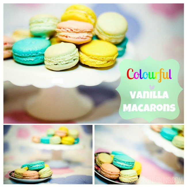 Colourful Vanilla Macarons by Sweet2EatBaking.com