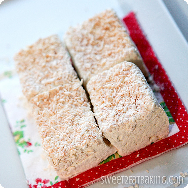 Toasted Coconut Vanilla Bean Marshmallows by Sweet2EatBaking.com