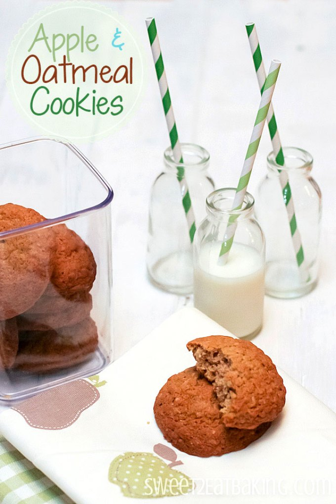 Apple and Oatmeal Cookies Recipe by Sweet2EatBaking.com