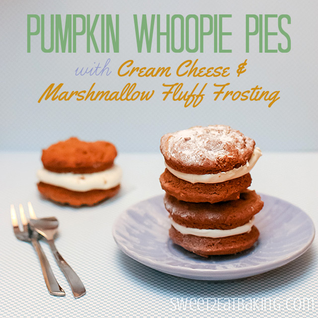 Pumpkin Whoopie Pies Recipe with Cream Cheese Marshmallow Fluff Frosting by Sweet2EatBaking.com
