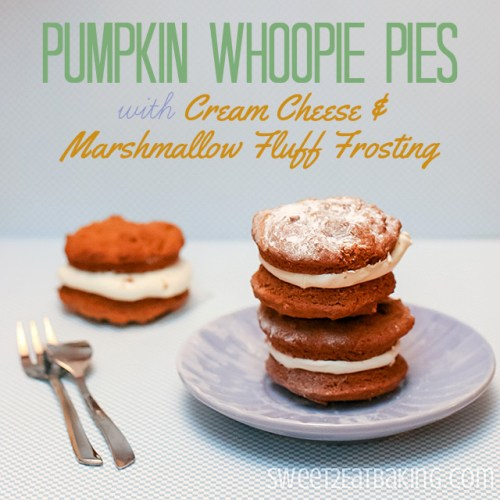 Pumpkin Whoopie Pies with Marshmallow Fluff Cream Cheese Frosting