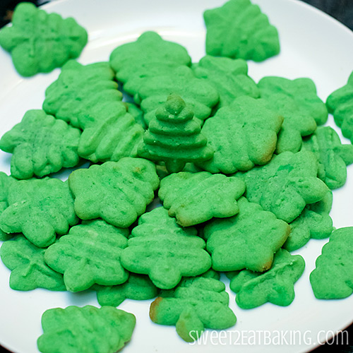 Christmas Tree Cookies Cookie Press Recipe by Sweet2EatBaking.com