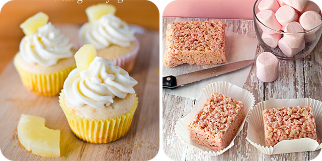 Pineapple Cupcakes using Greek Yogurt | Strawberry Rice Krispies Treats