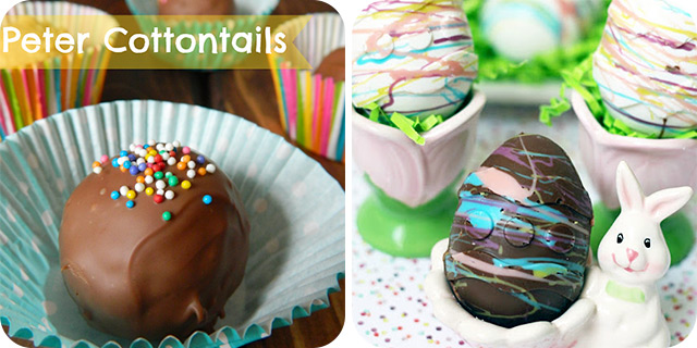 Peter Cottontails (Peanut Butter Balls)   Chocolate Eggs filled with Marshmallow and Nutella
