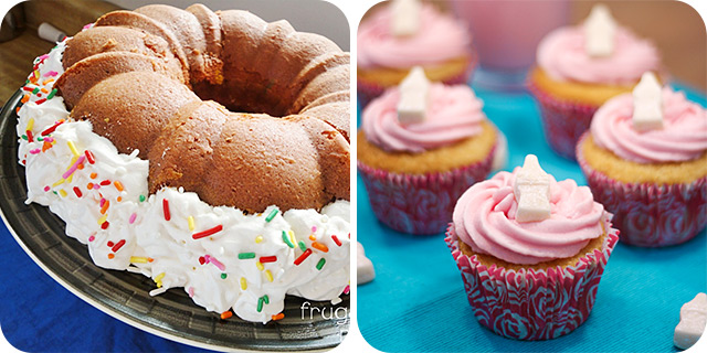 Rainbow Bundt Cake | Strawberry Milkshake Cupcakes