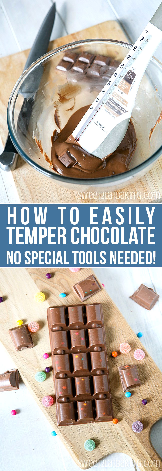 How to Temper Chocolate by Sweet2EatBaking.com | Learn how to temper chocolate quickly and easily with no special tools and equipment