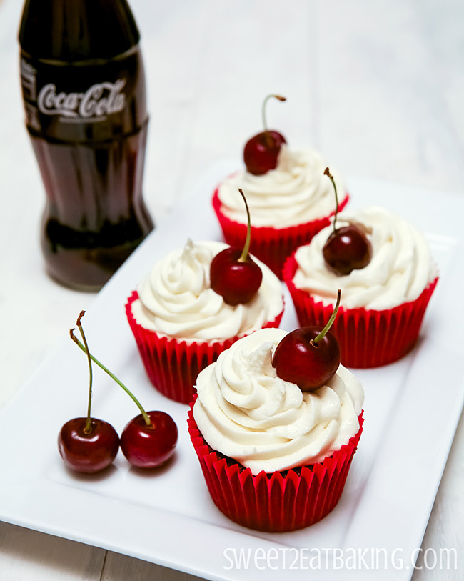 Cherry Coca-Cola Cupcakes with Coke Frosting by Sweet2EatBaking.com