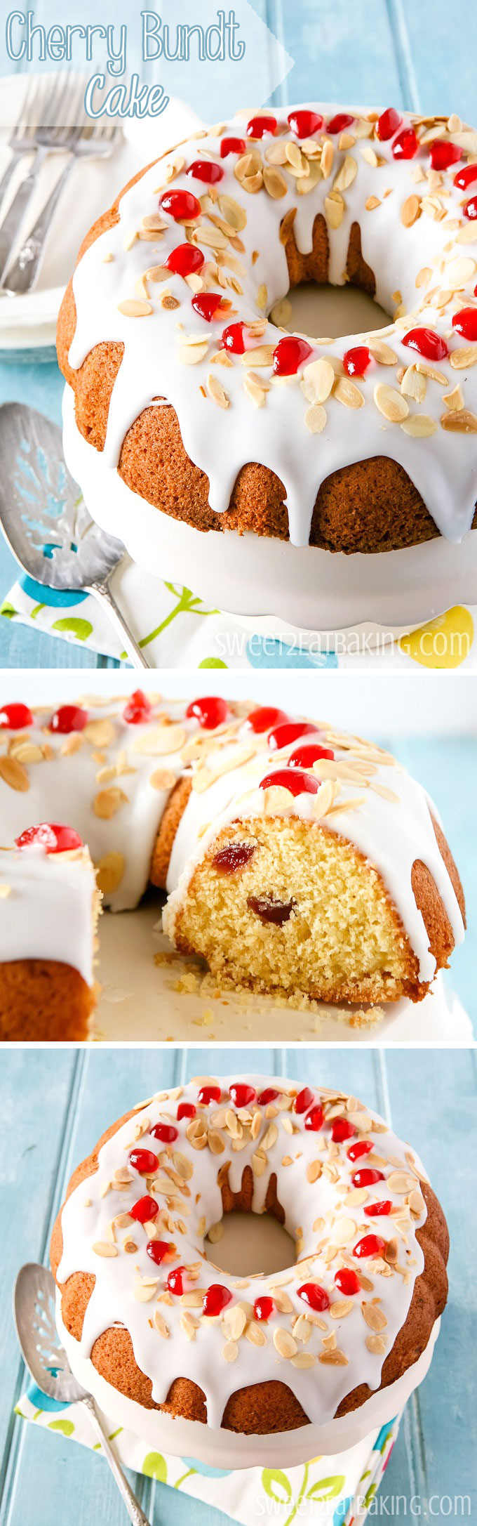 Cherry Bundt Cake Recipe by Sweet2EatBaking.com | Moist and studded with glacé cherries throughout the cake. With ground almonds, lemon zest, lemon glacé icing, toasted almonds and quartered glacé cherries.