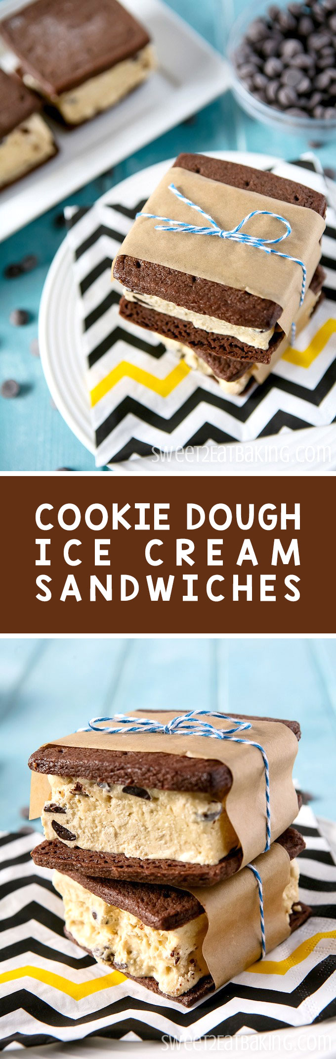 Beat the heat  with this Chocolate Chip Cookie Dough Ice Cream Sandwiches recipe by Sweet2EatBaking.com | Soft firm on the outside and chewy chocolate cookies, filled with a generous serving of delicious homemade cookie dough ice cream.