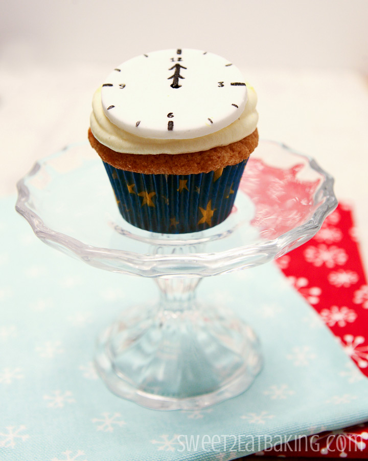 New Years Eve Count Down Clock Cupcakes by Sweet2EatBaking.com