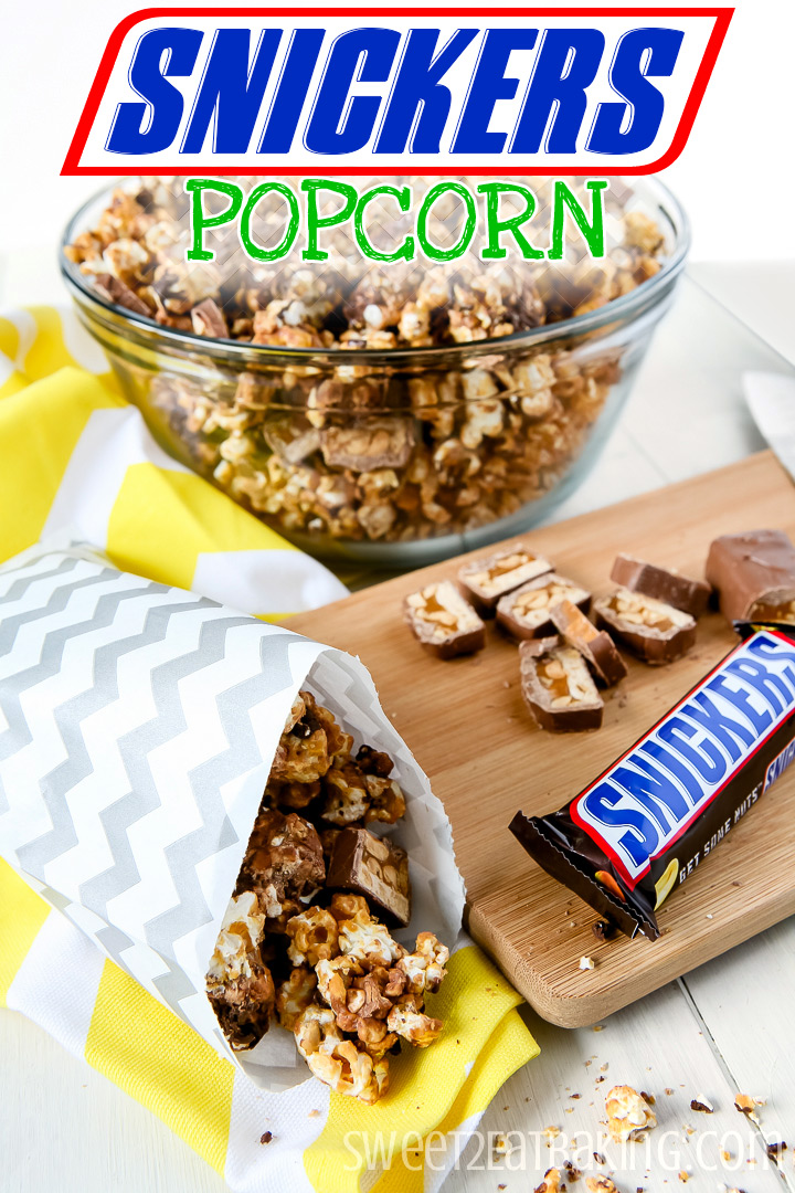 Snickers Popcorn by Sweet2EatBaking.com