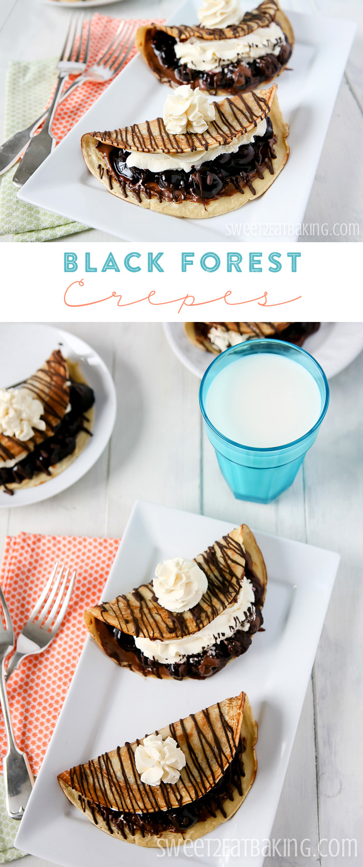 Black Forest Crepes with Nutella Recipe by Sweet2EatBaking.com