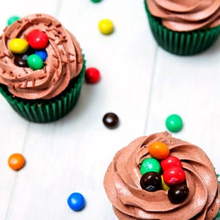Chocolate M&M'S® Crispy Cupcakes with Chocolate Buttercream Frosting