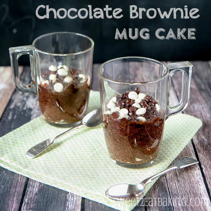 Chocolate Brownie Mug Cake by Sweet2EatBaking.com