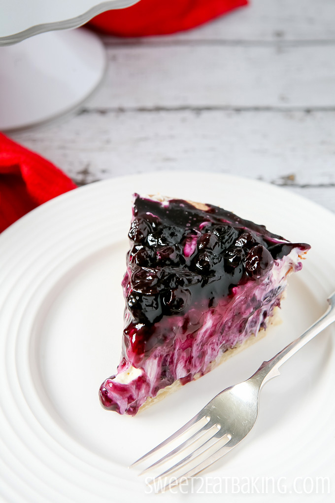 Blueberry Cream Cheese Pie Close-up by Sweet2EatBaking.com