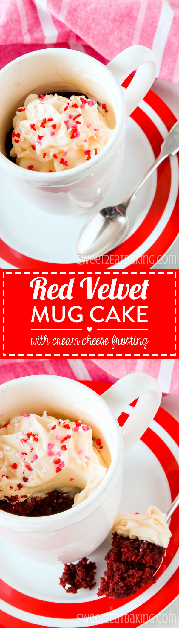 Valentine's Red Velvet Mug Cake with Cream Cheese Frosting Recipe by Sweet2EatBaking.com – It's moist, egg-free and utterly delicious with that distinctive red velvet flavour. I've even topped it off with a complimenting cream cheese frosting