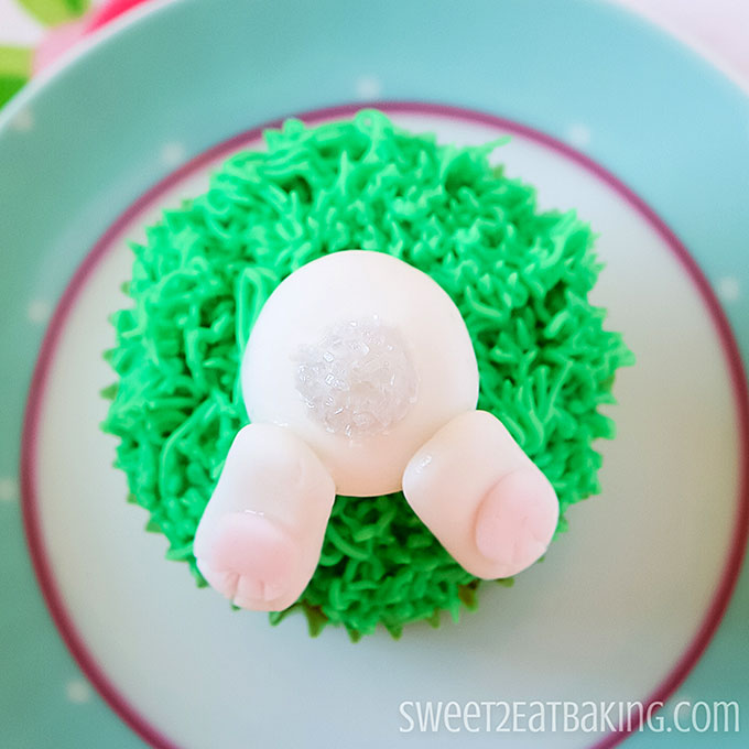 Upside Down Easter Bunny Butt Cupcakes Recipe and Tutorial by Sweet2EatBaking.com