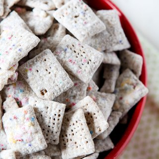 Funfetti Cake Batter Puppy Chow Recipe by Sweet2EatBaking.com