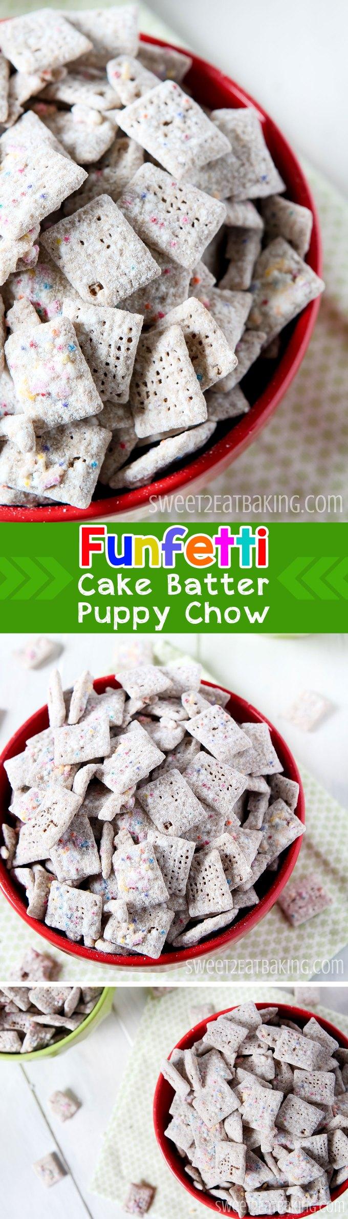 Funfetti Cake Batter Puppy Chow (Muddy Buddies) Chex Recipe by Sweet2EatBaking.com