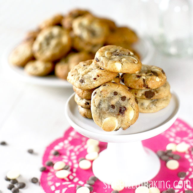 Strawberry, Roasted Hazelnut, Dark & White Chocolate Chip Cookies Recipe by Sweet2EatBaking