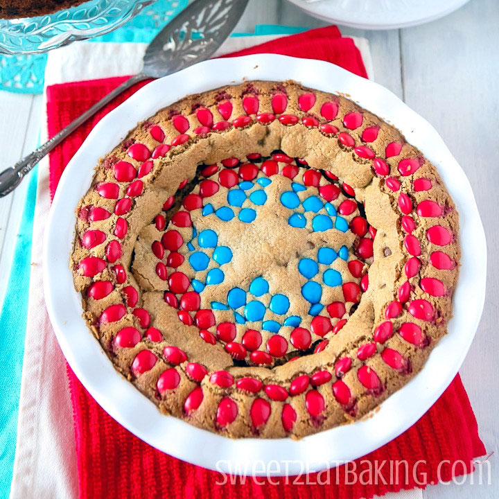 Captain America M&M Chocolate Chip Cookie Cake by Sweet2EatBaking.com