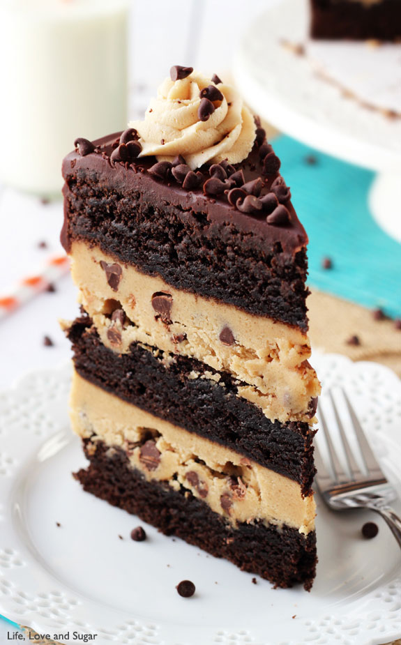 Peanut Butter Cookie Dough Brownie Layer Cake Recipe