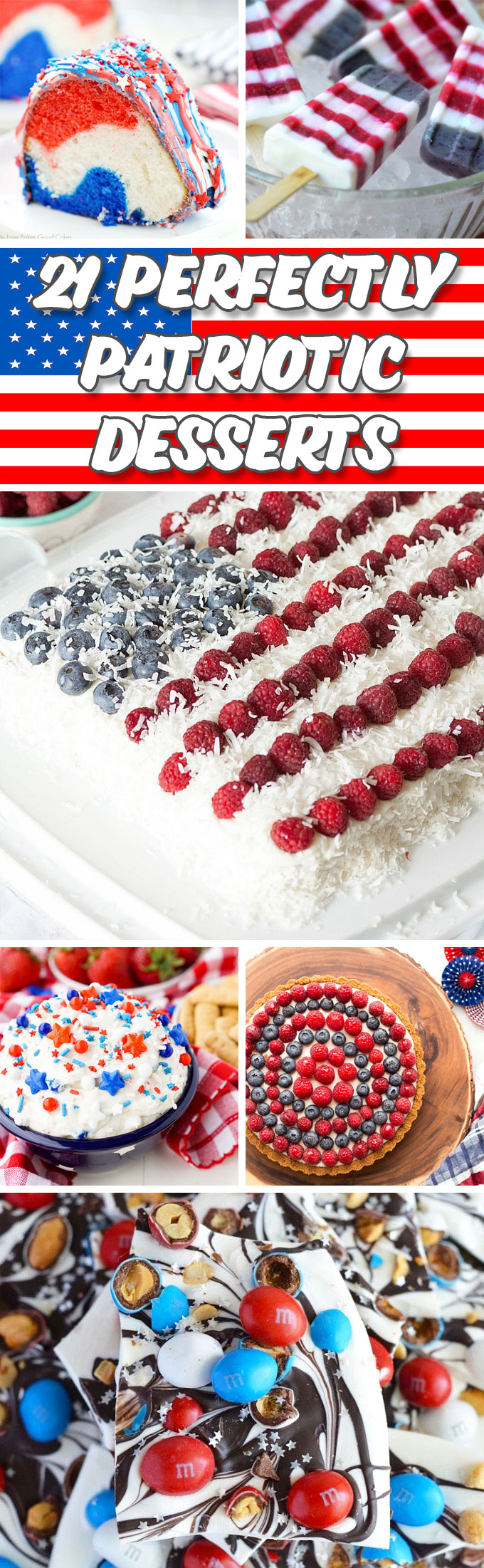 21 Perfectly Patriotic Desserts by Sweet2EatBaking.com | Celebrate Independence Day with these delicious red, white and blue desserts for your 4th July celebrations