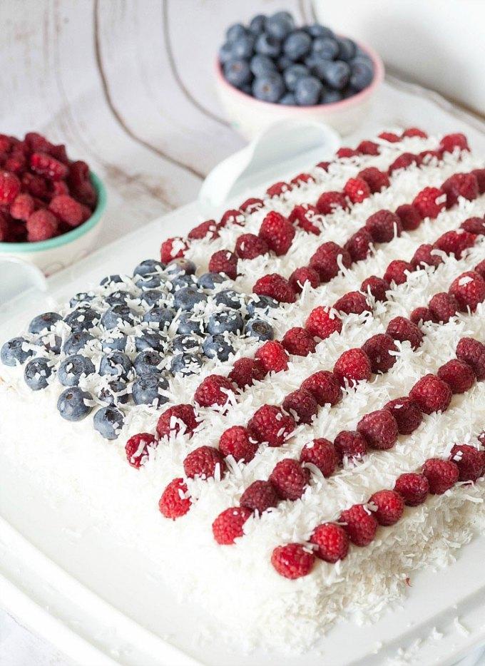 Coconut Blueberry Raspberry Flag Cake