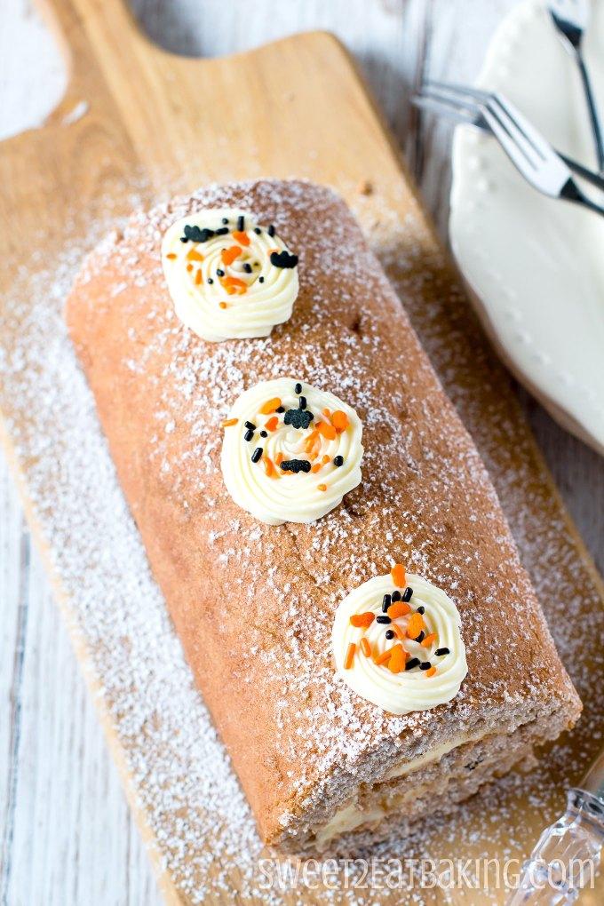 Halloween Fall Spice Roll Cake Recipe by Sweet2EatBaking.com