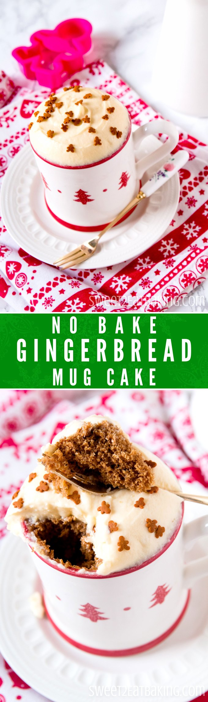 No Bake Gingerbread Mug Cake Recipe by Sweet2EatBaking.com | This Gingerbread Mug Cake is the perfect, quick Christmas dessert when you're craving those festive flavours this holiday season. Quick and simple to make, and perfectly flavoured with traditional festive gingerbread spices