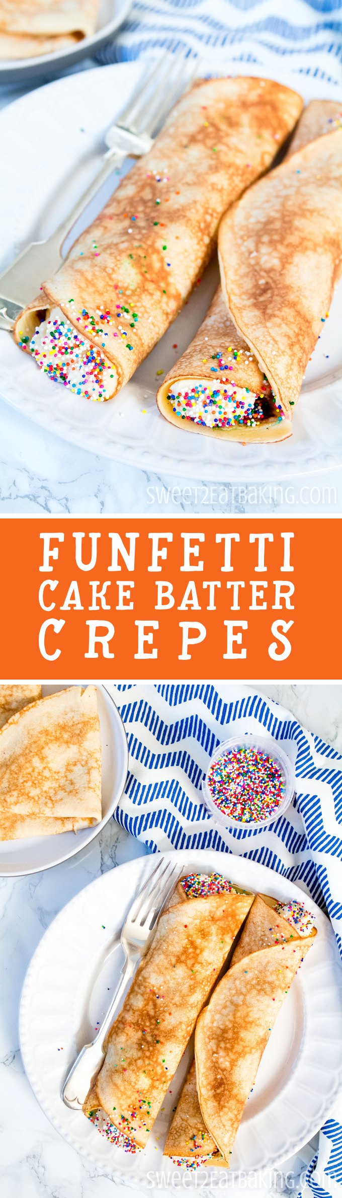 Funfetti Cake Batter Crêpes (Pancakes) Recipe by Sweet2EatBaking.com | These Crêpes taste just like cake batter and are the perfect treat this Shrove Tuesday (aka. Pancake Day or Pancake Tuesday). Made with cake mix both in the crêpe batter and the buttercream frosting, these crêpes will be your new favourite recipe