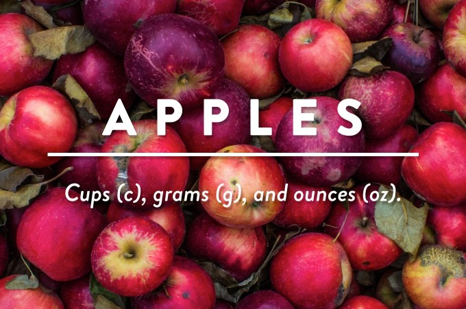 Apples - Measurements in cups (c), grams (g), and ounces (oz) by Sweet2EatBaking.com