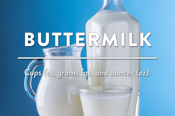 Buttermilk - Measurements in cups (c), grams (g), and ounces (oz) by Sweet2EatBaking.com