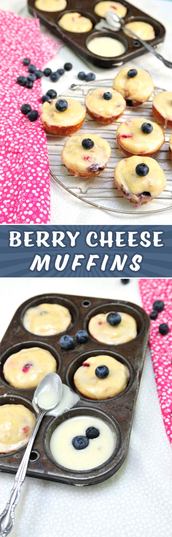 Berry Cheese Muffins with Lemon Glaze Recipe by Sweet2EatBaking.com | A fuss-free moist muffin recipe that's perfect for summer. Made with fresh berries (strawberries and blueberries) and ricotta cheese. Topped off with a tart refreshing lemon glaze. Enjoy for breakfast or as a tasty snack.