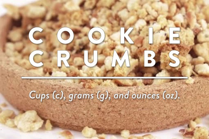 Biscuit Crumbs or Cookie Crumbs - Measurements in cups (c), grams (g), and ounces (oz) by Sweet2EatBaking.com